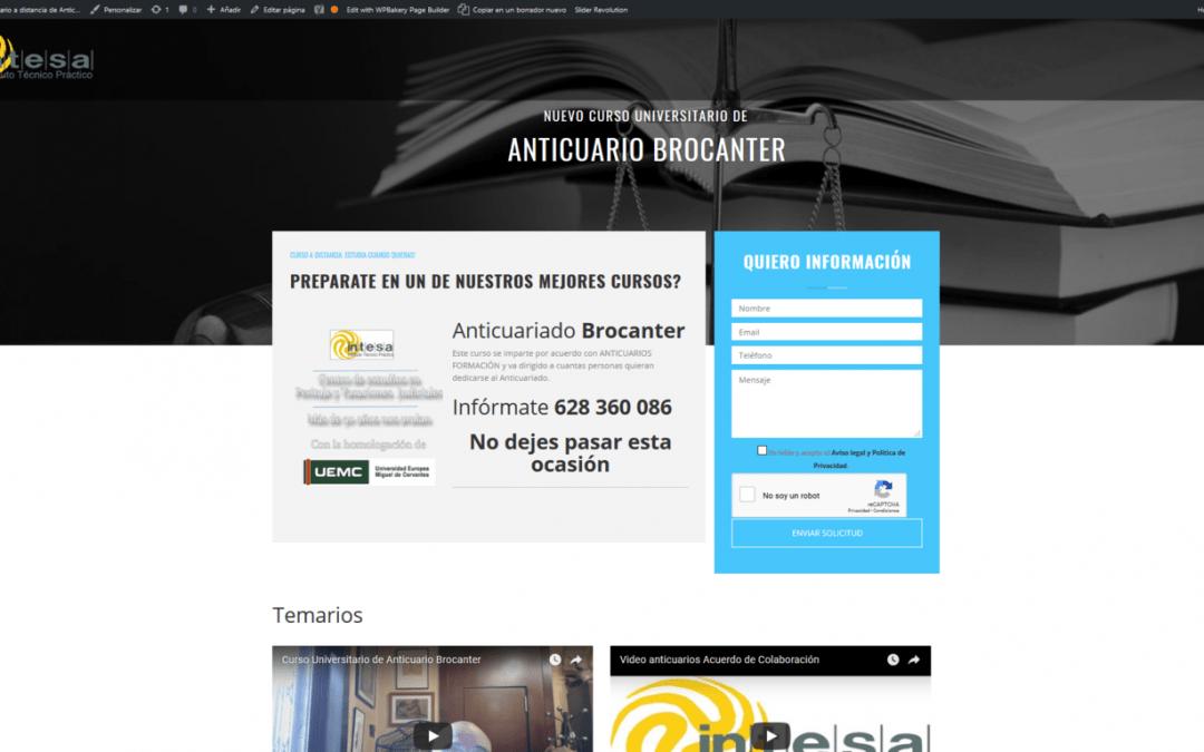 Actualización web curso anticuario brocanter 2018