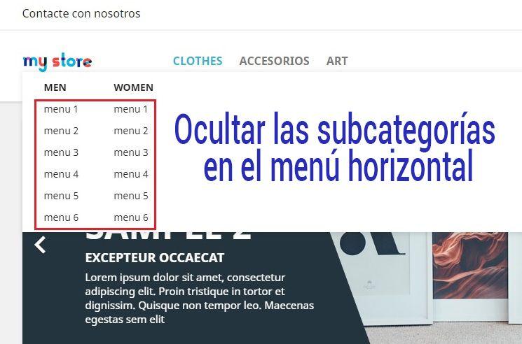 Ocultar las subcategorías del menú horizontal en Prestashop 1.7.5