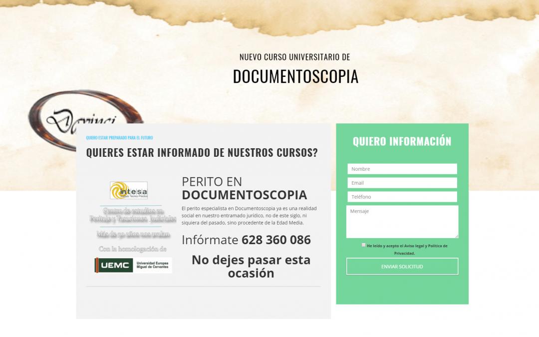 Página web curso de documentoscopia