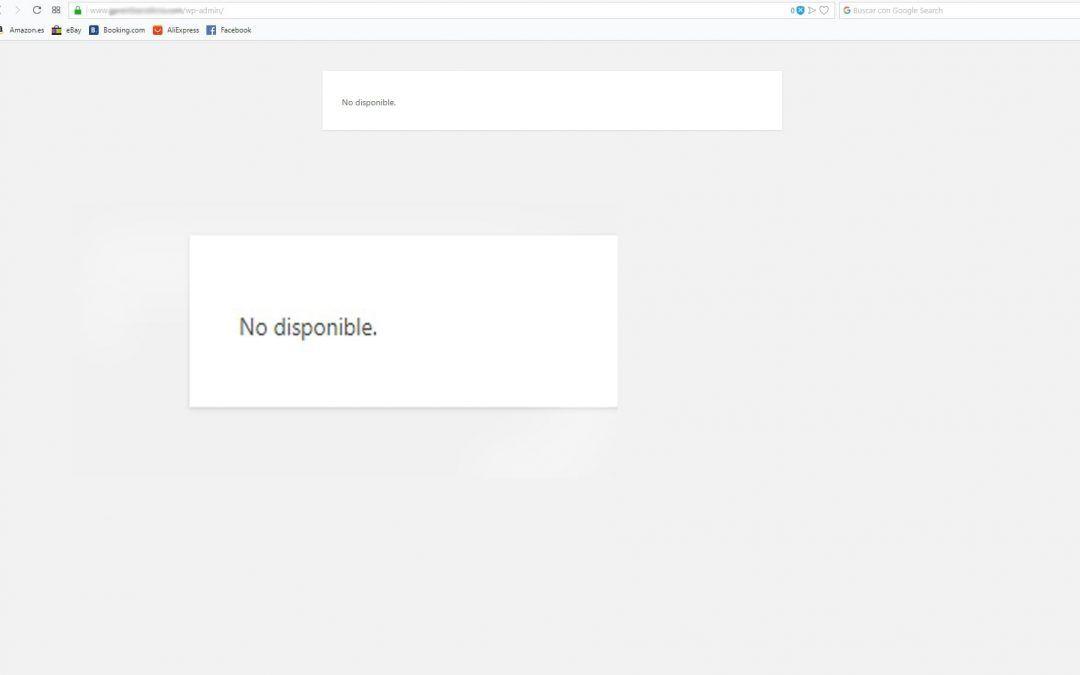 """Error """"No disponible"""" en WordPress"""