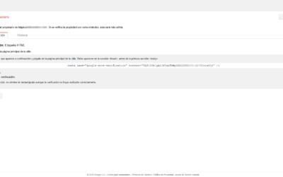 Código etiqueta HTML de verificación de Search Console